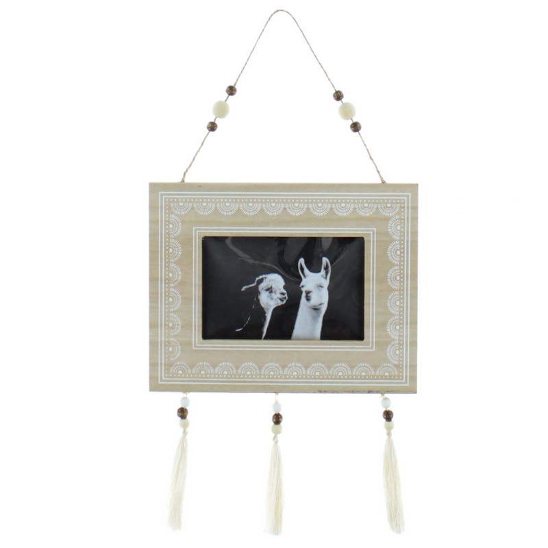 Wall Frame Wood Llama Pompon