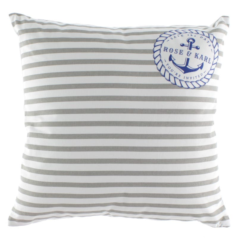 Striped Nautical Cushion - Gray