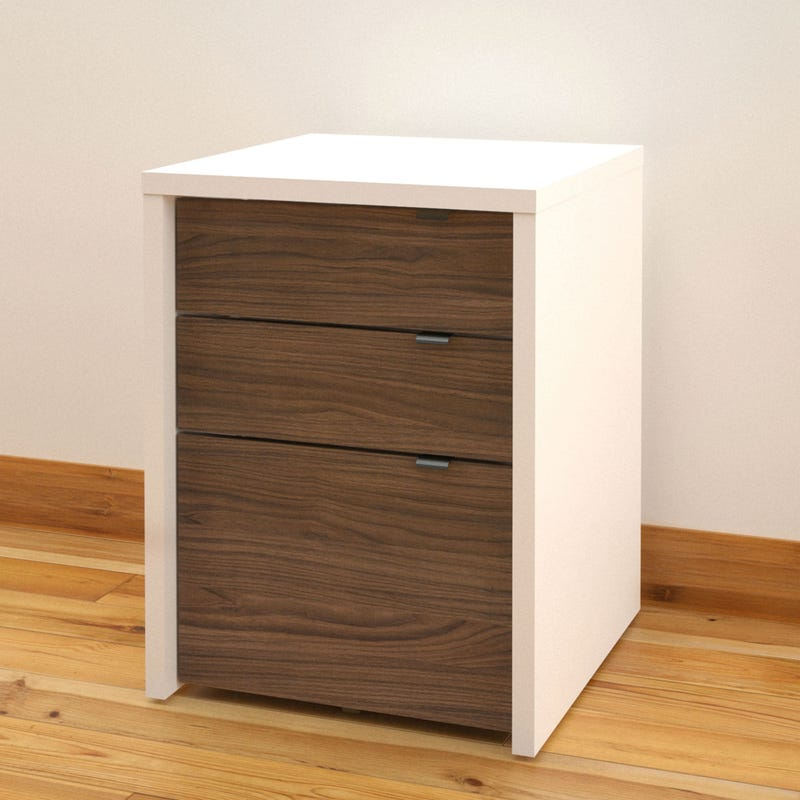 Liber-T Filing Cabinet 3-Drawer - White and Walnut