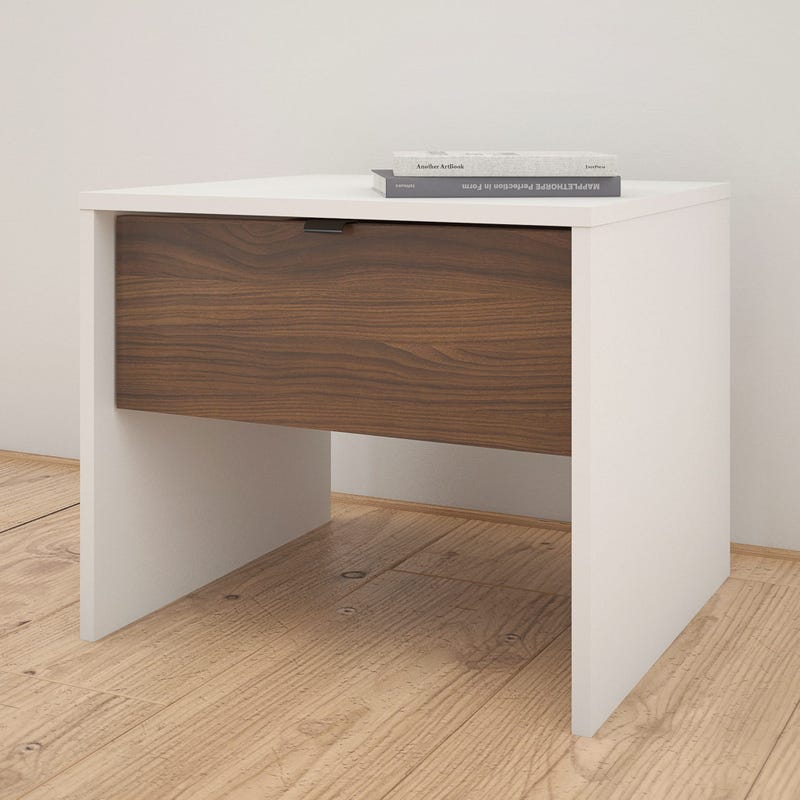 Axel Nightstand - White and Walnut