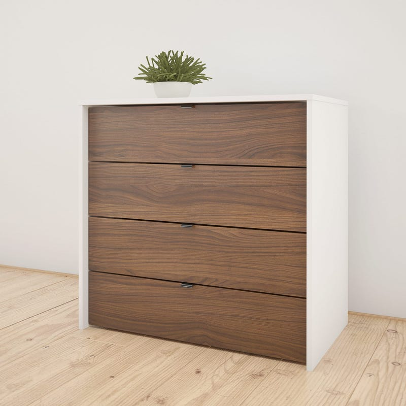 Axel 4-Drawer Chest - White and Walnut