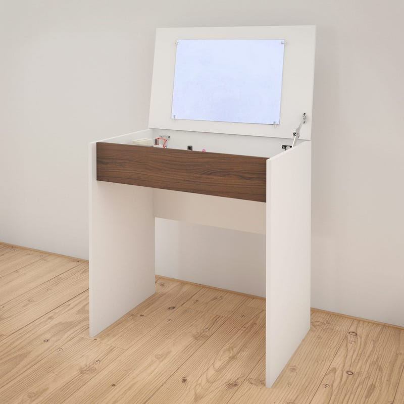 Axel Vanity with mirror / Writing Desk - White and Walnut