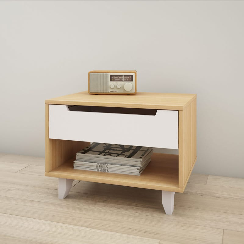 Nomad Nightstand - White and Natural Maple