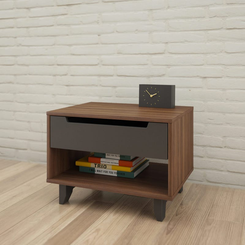 Alibi Nightstand - Walnut & Charcoal