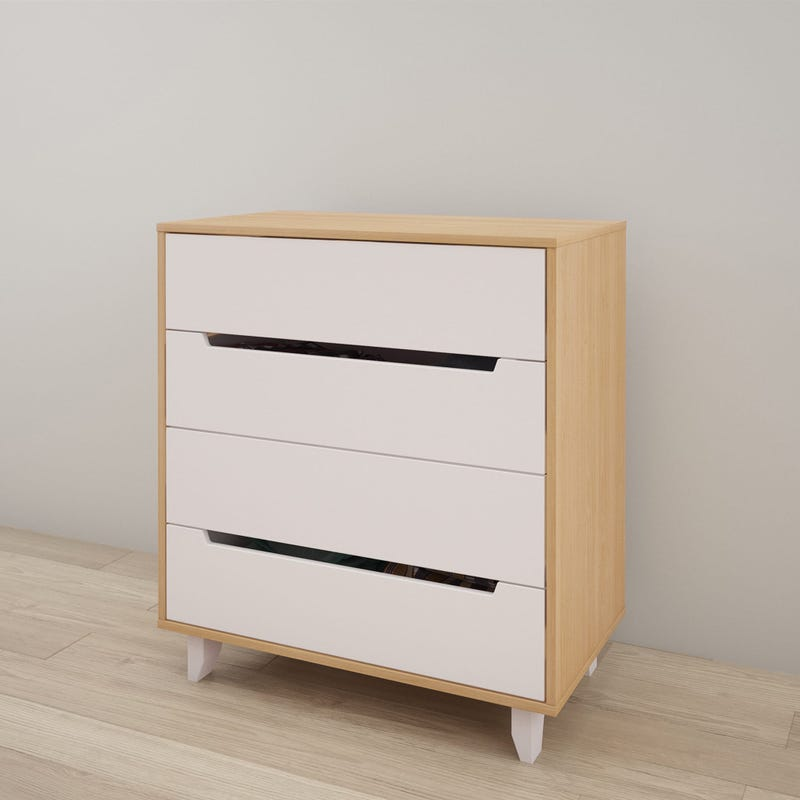 Nomad 4-Drawer Chest - White and Natural Maple
