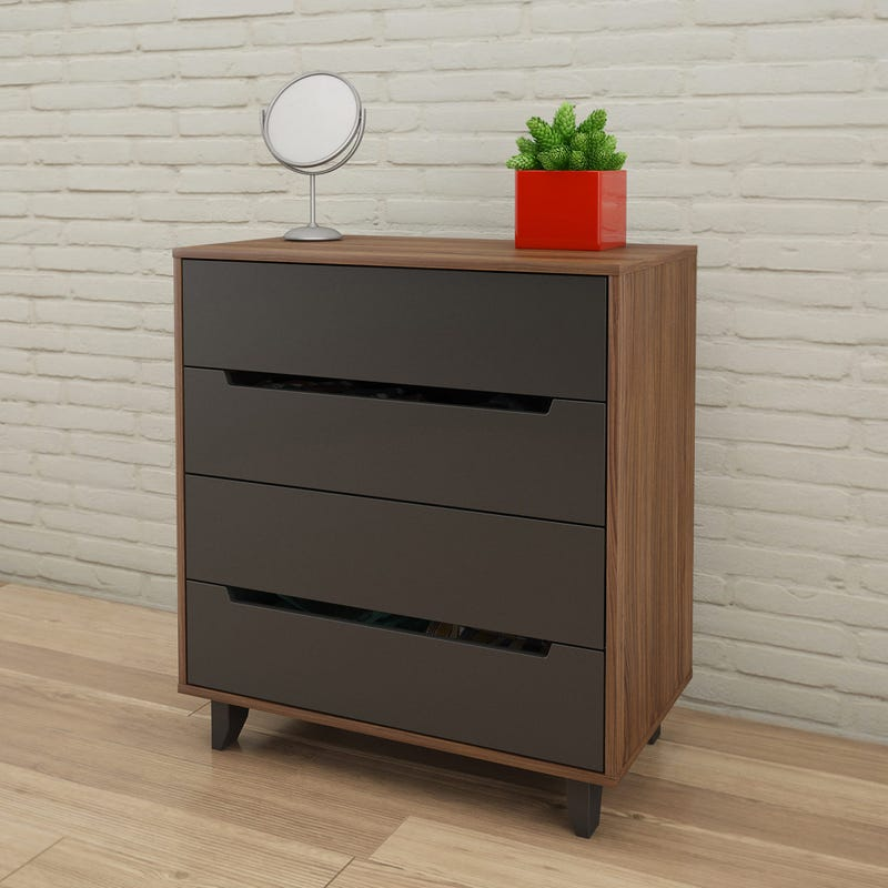 Alibi 4-Drawer Chest - Walnut & Charcoal