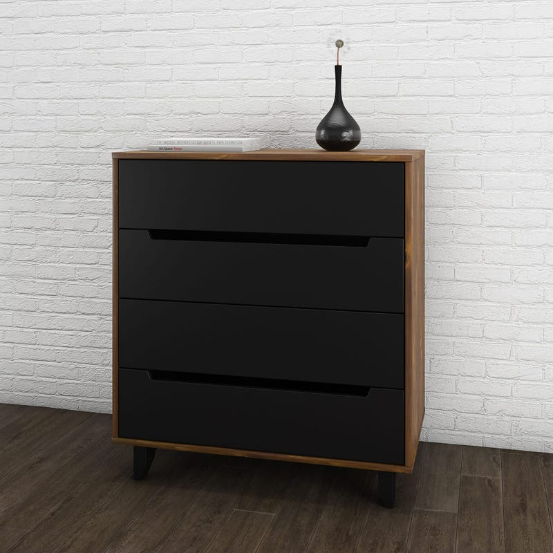 Aston 4-Drawer Chest - Truffle & Black