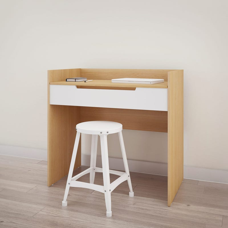 Nomad Vanity with mirror / Writing Desk - White and Natural Maple