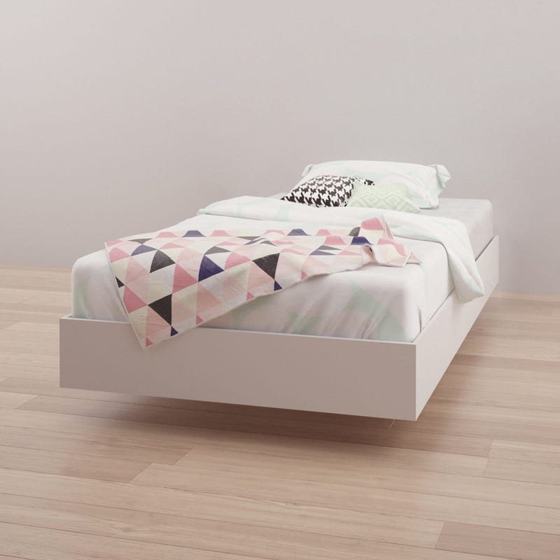 Acapella Twin Size Platform Bed - White