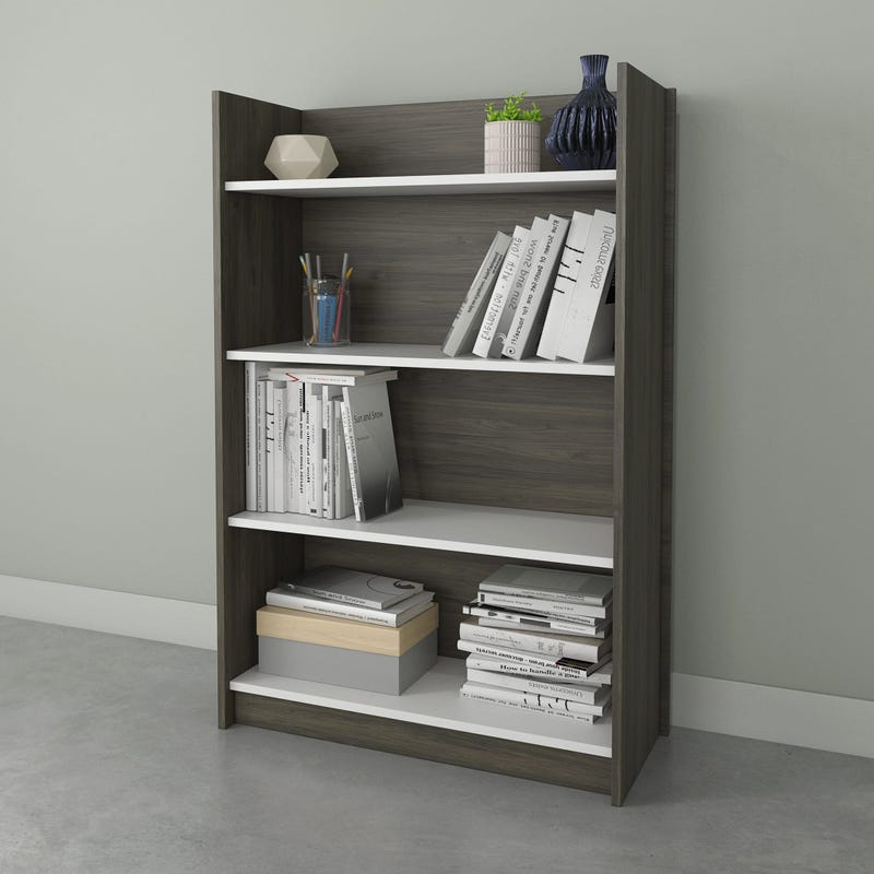 Chrono Bookcase 4 Shelves Bark - Grey & White