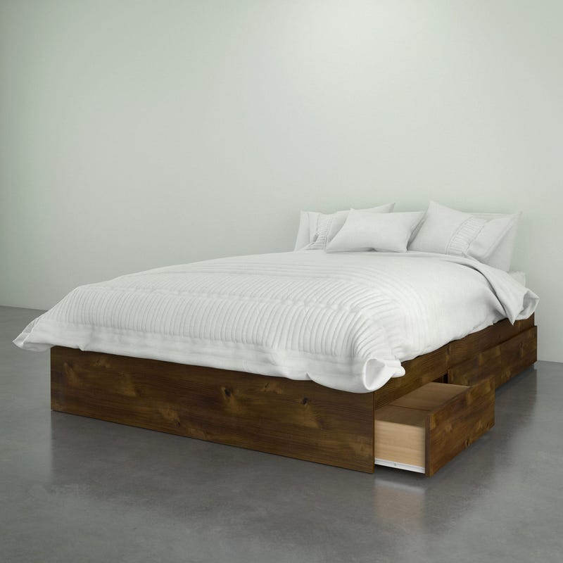 Oscuro Full Size Bed 3-Drawer - Truffle