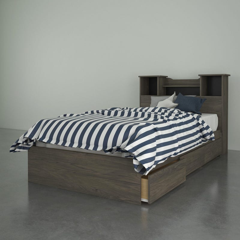 Twin Bed and Headboard Pocono - Grey