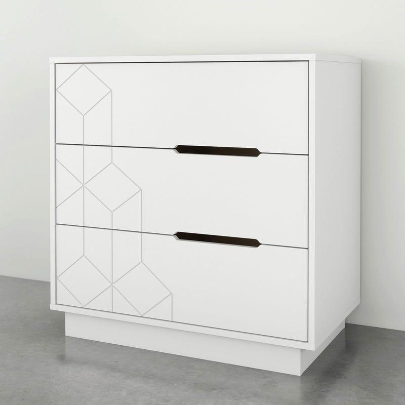 Bureau 3 Tiroirs - Blanc