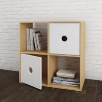 Bibliothèque Domino - Érable Naturel et Blanc