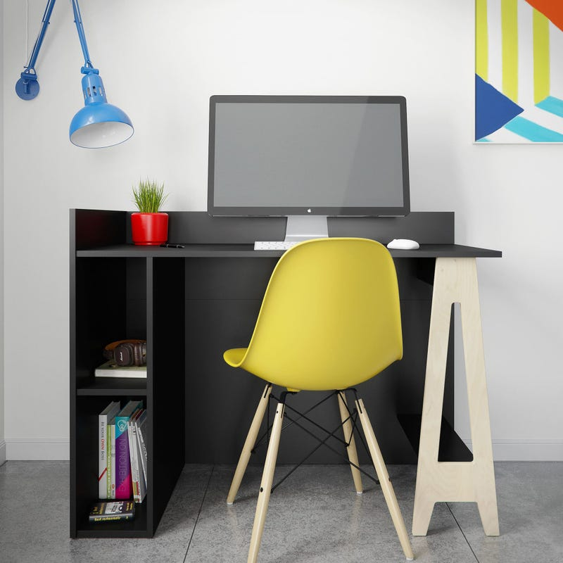 Atypik Open Storage Desk - Black / Natural Plywood