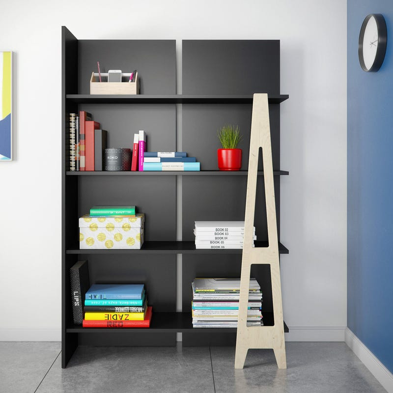 Bibliothèque Atypik - Noir / Merisier Naturel