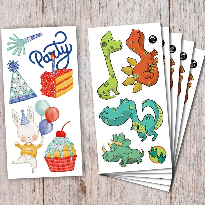 Birthday Kit Tattoos - Dinosaurs