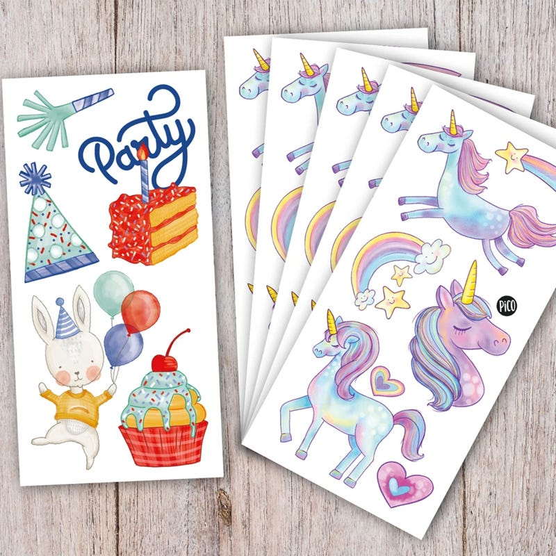 Birthday Kit Tattoos - Unicorns