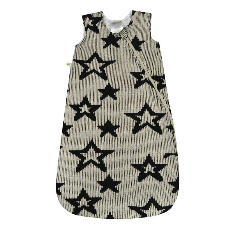 Chenille Sleep Bag 0-36m - Black Stars