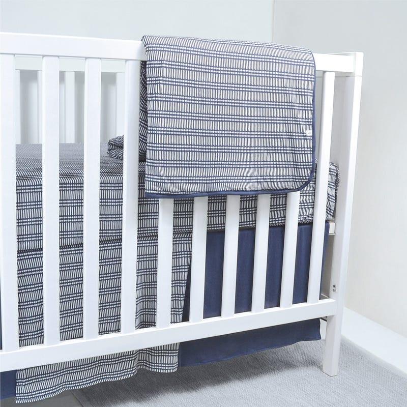 Bamboo Crib Bedding  - Navy Stick