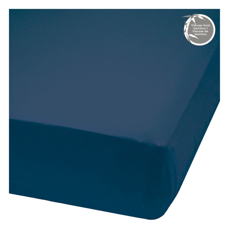 Crib Bambou Fitted Sheet - Navy