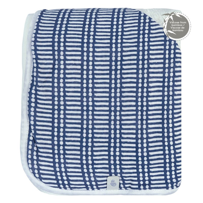 Bamboo Hooded Towel - Navy Sticks