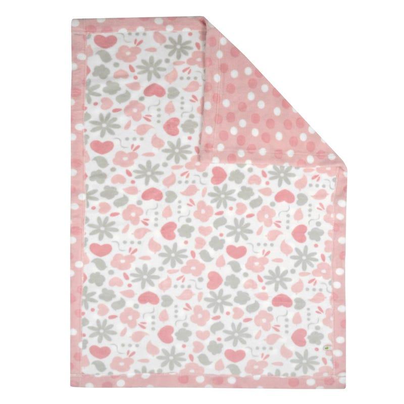Reversible Plush Blanket Garden/Dots