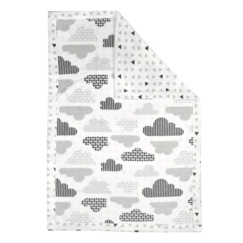 Reversible Plush Blanket  Clouds/Triangles