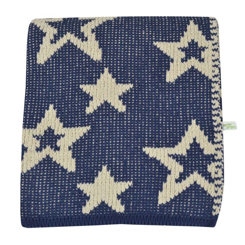 Chenille Blanket Stars - Navy