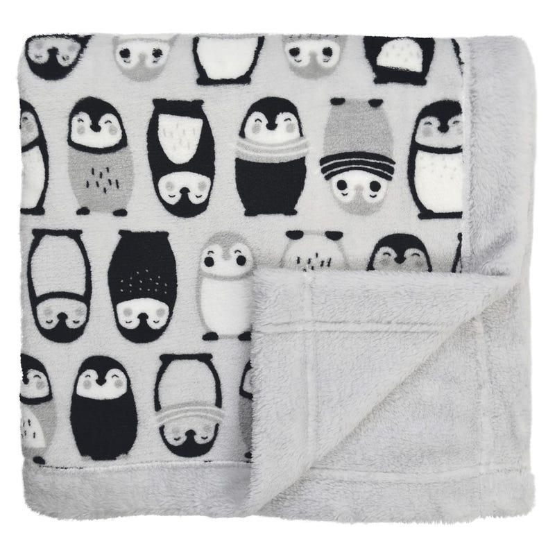 Couverture peluche pingouins