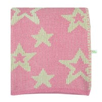 Chenille Blanket Stars - Pink
