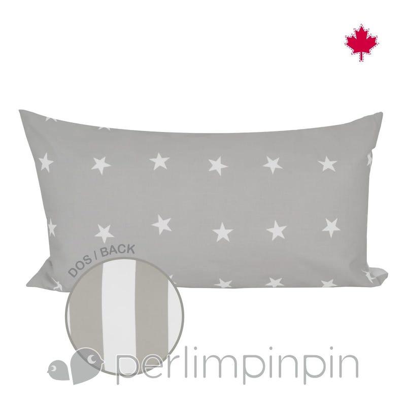 Reversible Rectangular Cushion - Taupe Stars