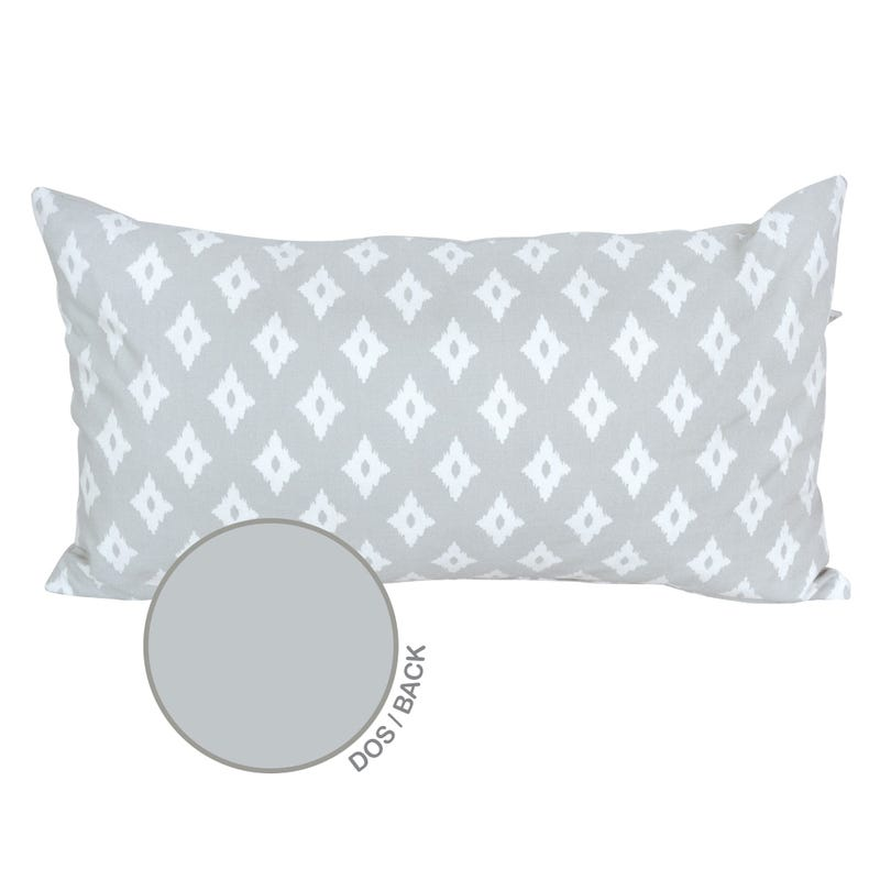 Reversible Rectangular Cushion Diamond - Gray