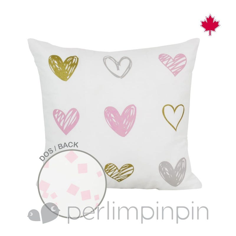 Coussin Coeurs Reversible