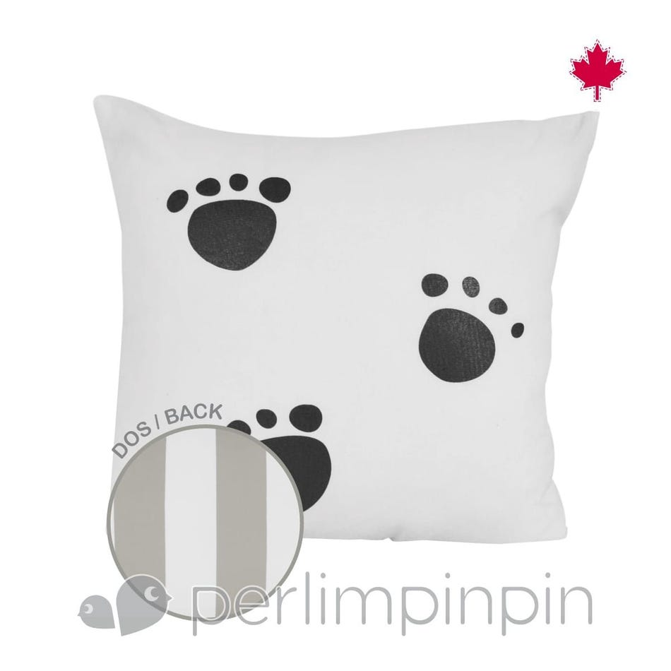 bdf1c9571e7f Perlimpinpin Cushion 14x14 Reversible Paws - Clement