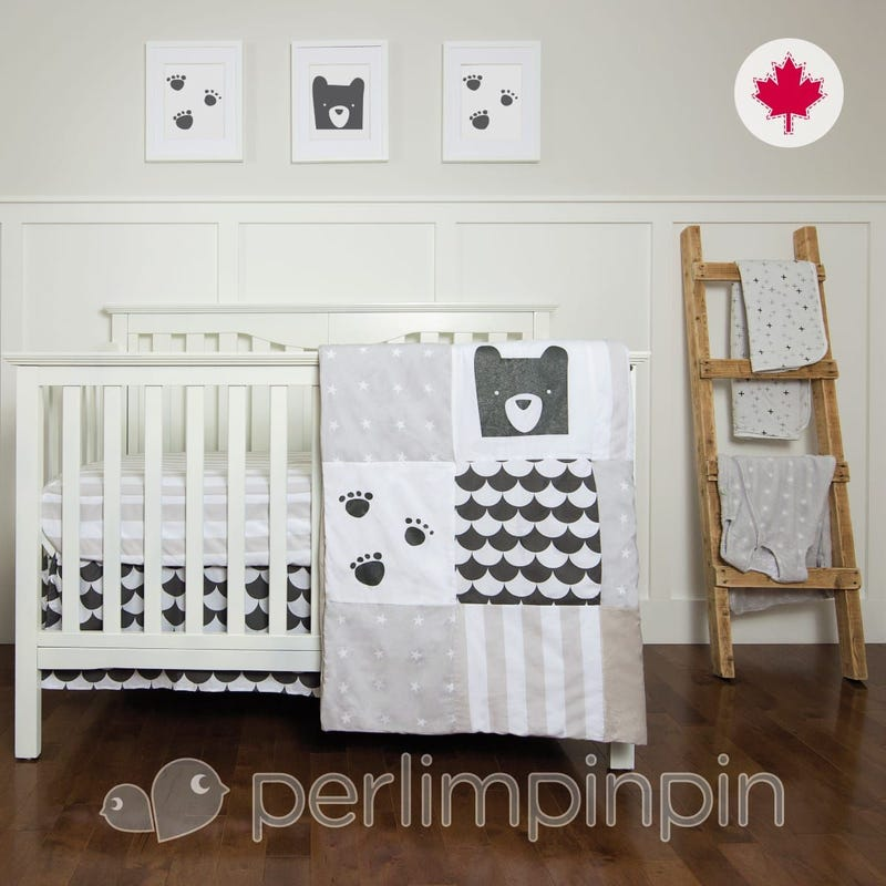 3 Pieces Crib Set - Charcoal/Paws