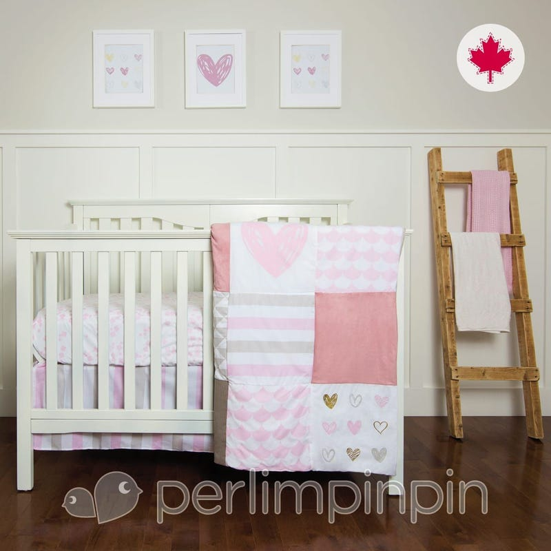 3 Pieces Crib Set - Pink/Heart