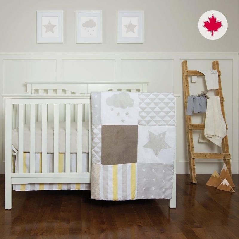 3 Pieces Crib Set - Yellow Stars