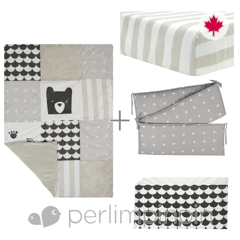4 Pieces Crib Set - Charcoal/Paws