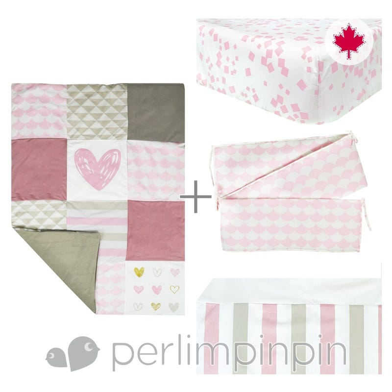 4 Pieces Crib Set - Pink/Heart