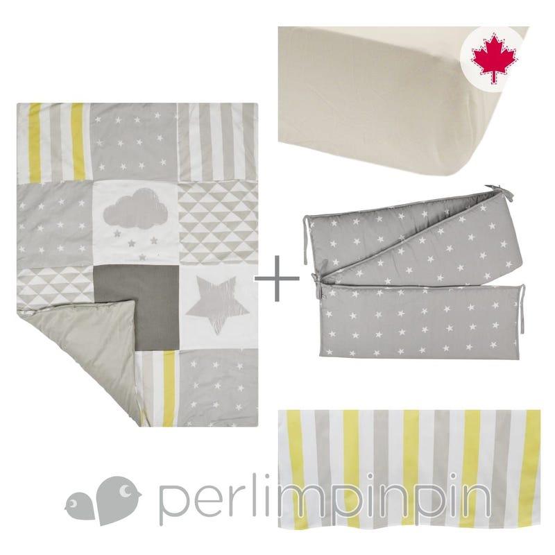 4 Pieces Crib Set - Yellow Stars