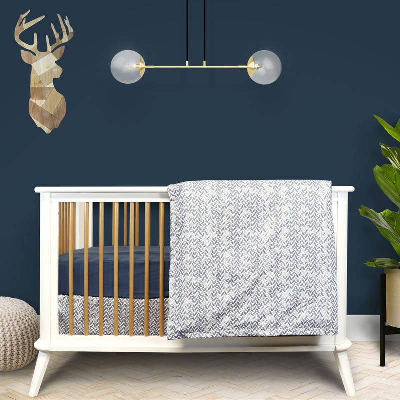 4 Pieces Crib Set Chevron - Blue