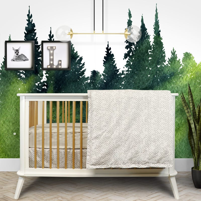 4 Pieces Crib Set Chevron - Gray