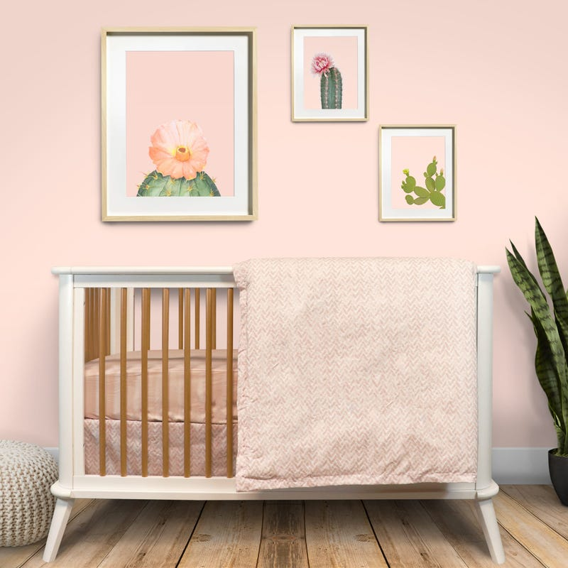 4 Pieces Crib Set Chevron - Pink