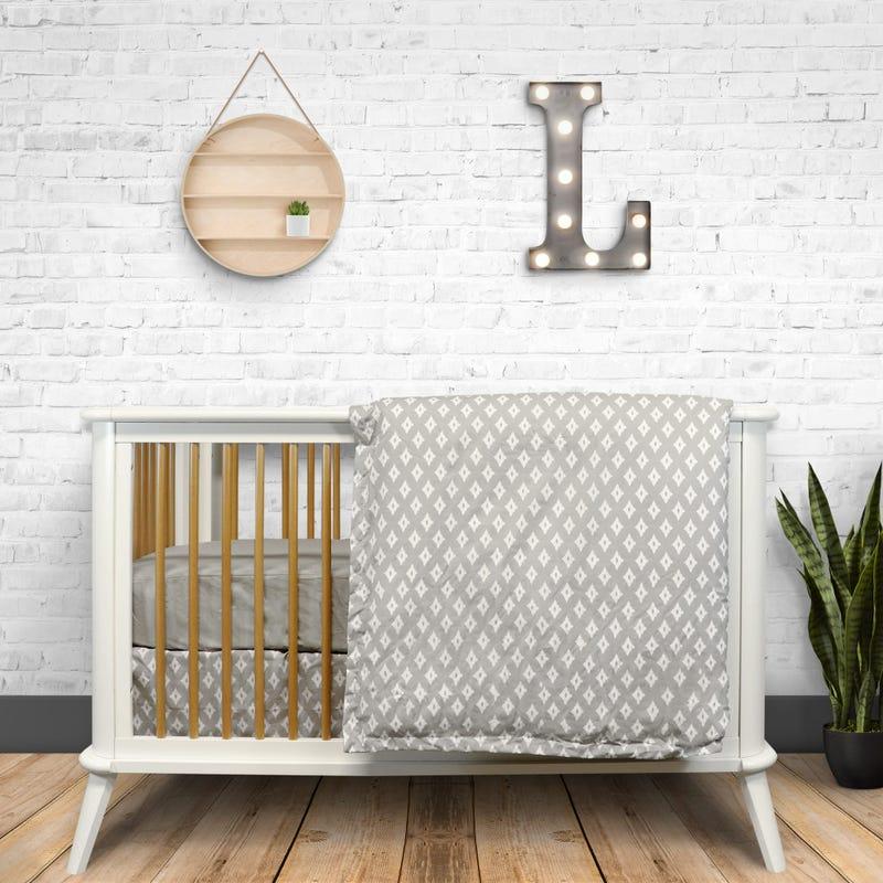 4 Pieces Crib Set Diamond - Gray