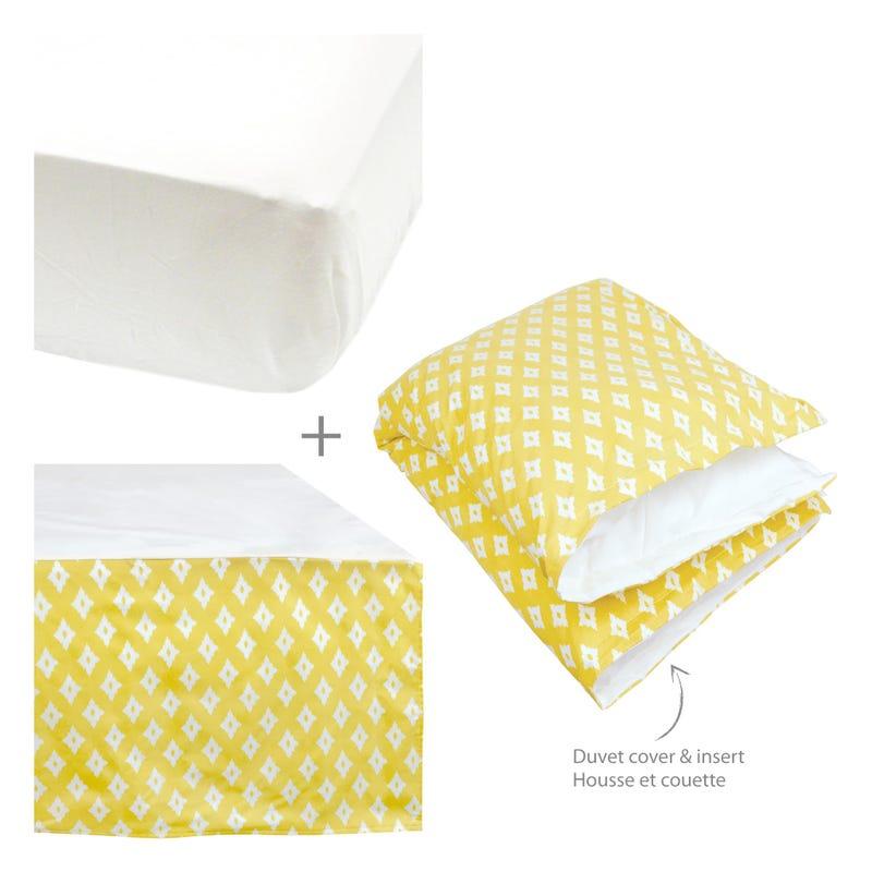 4 Pieces Crib Set Diamond -Yellow