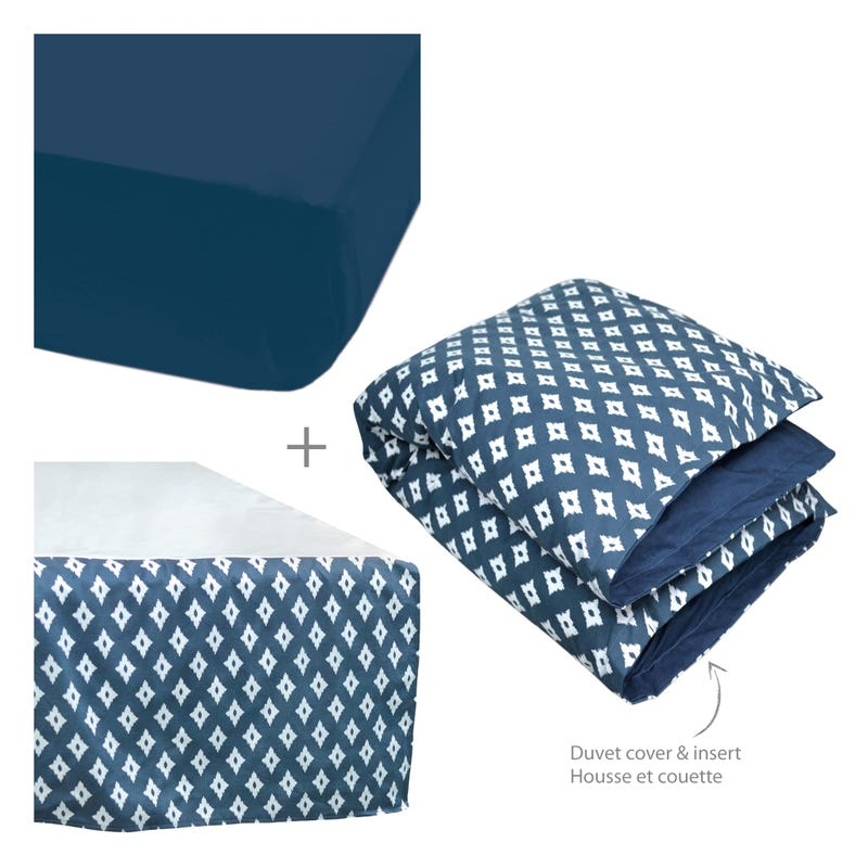 4 Pieces Crib Set Diamond -Navy