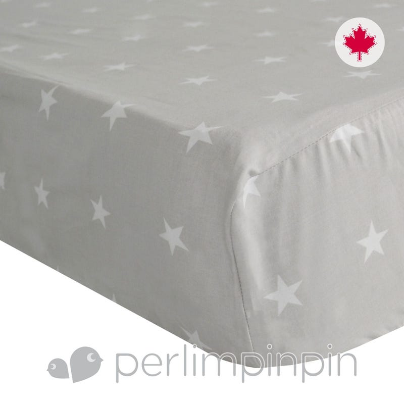 Crib Fitted Sheet Stars -Gray