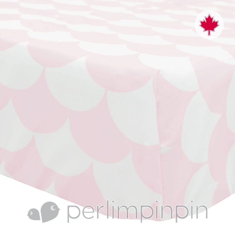 Crib Fitted Sheet Scallops - Pink