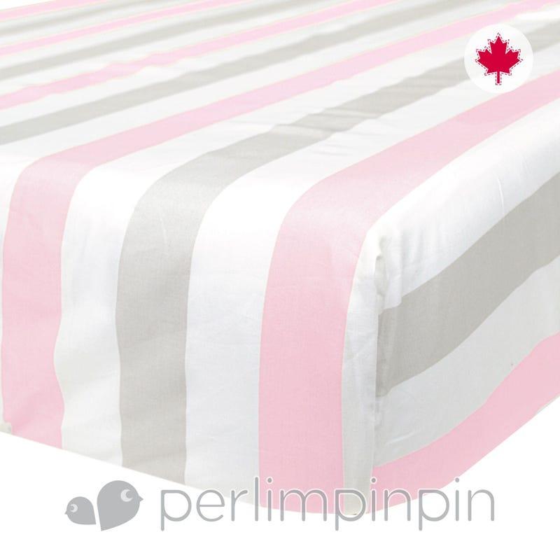 Crib Flat Sheet Stripes - Pink